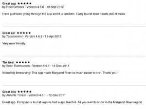 Margaret River app feedback